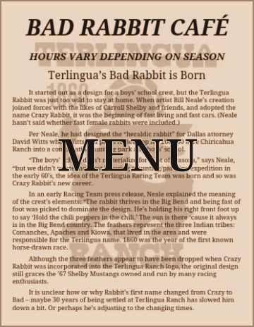 Terlingua Restaurant | Bad Rabbit Cafe Menu